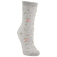 Buy John Lewis Floral Ankle Socks, Grey/Pink Online at johnlewis.com