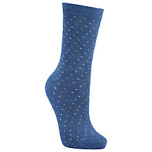Buy John Lewis Mini Spot Ankle Socks, Blue/Lime Online at johnlewis.com