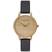 Buy Olivia Burton OB14CF01 Women's Check Dial Leather Strap Watch, Black Online at johnlewis.com