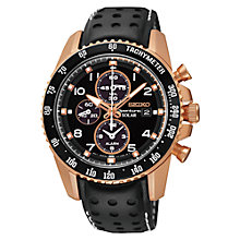Buy Seiko SSC274P9 Men's Sportura Chronograph Leather Strap Watch, Black Online at johnlewis.com