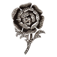 Buy Sharon Mills 1950s Silver Marcasite Rose Brooch, Silver Online at johnlewis.com