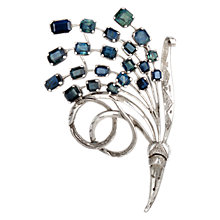 Buy Sharon Mills 1950s Square Sapphires Brooch, Silver Online at johnlewis.com
