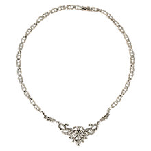Buy Sharon Mills Silver Marcasite Flower Scroll Necklace, Silver Online at johnlewis.com