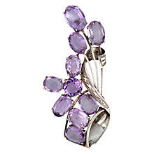 Buy Sharon Mills 1950s Amethyst Brooch, Silver Online at johnlewis.com