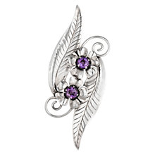 Buy Sharon Mills Flower Leaf Brooch, Silver Online at johnlewis.com