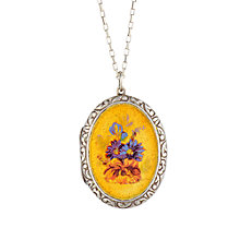 Buy Sharon Mills 1950s Flower Locket, Silver / Yellow Online at johnlewis.com