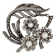 Buy Sharon Mills 1930s Silver Marcasite Pearl Brooch, Silver Online at johnlewis.com