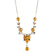 Buy Sharon Mills 1930s Citrines Pearl Scrolls Necklace, Silver / Yellow Online at johnlewis.com