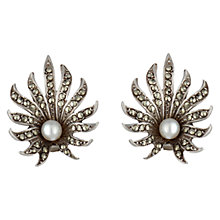 Buy Sharon Mills Silver Marcasite Pearl Earrings, Silver Online at johnlewis.com