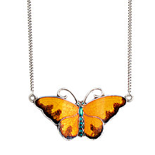 Buy Sharon Mills 1950s Enamel Butterfly Necklace, Silver Online at johnlewis.com