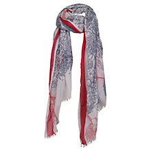 Buy Fat Face Stencil Bird Scarf, Red/Blue Online at johnlewis.com