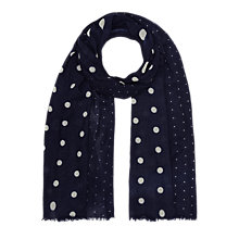 Buy Jigsaw Wool Polka Dot Scarf, Navy Online at johnlewis.com