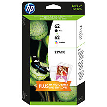 Buy HP 62 Ink Cartridge, Black & Tri-Colour 2-Pack with 10 sheets of photo paper & 5 envelopes, J3M80AE Online at johnlewis.com