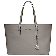 Buy MICHAEL Michael Kors Jet Set Travel Medium Leather Tote Bag, Grey Online at johnlewis.com