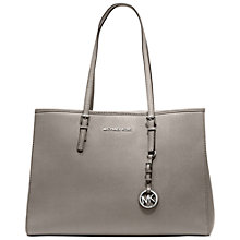 Buy MICHAEL Michael Kors Jet Set Travel Large Leather Tote Bag, Grey Online at johnlewis.com