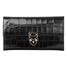 Buy Aspinal of London Leather Shield Purse, Black Online at johnlewis.com