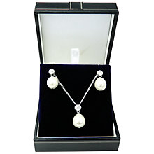 Buy A B Davis Sterling Silver Pearl And Cubic Zirconia Pendant And Earrings Box Set, Silver Online at johnlewis.com