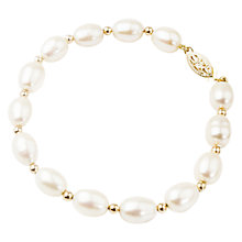 Buy A B Davis 9ct Gold Oval Freshwater Pearl Bracelet Online at johnlewis.com