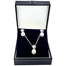 Buy A B Davis Sterling Silver Pearl Pendant And Earrings Box Set, Silver Online at johnlewis.com