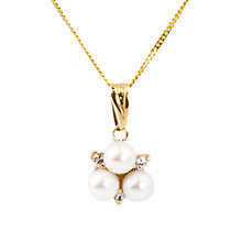 Buy A B Davis 9ct Gold Triple Cultured Pearl Pendant Necklace Online at johnlewis.com