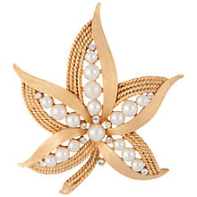 Buy Susan Caplan Vintage 1950s Trifari Faux Pearl Swarovski Crystal Brooch, Gold Online at johnlewis.com