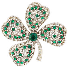 Buy Susan Caplan Vintage 1960s Art Mode Silver Plate Swarovski Crystal Clover Brooch, Green Online at johnlewis.com