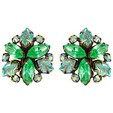 Buy Susan Caplan Vintage 1950s Regency Swarovski Crystals Leaf Earrings, Gold / Green Online at johnlewis.com