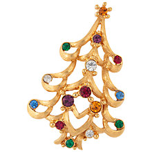 Buy Susan Caplan Vintage 1970s Monet Christmas Tree Swarovski Crystals Brooch, Gold Online at johnlewis.com