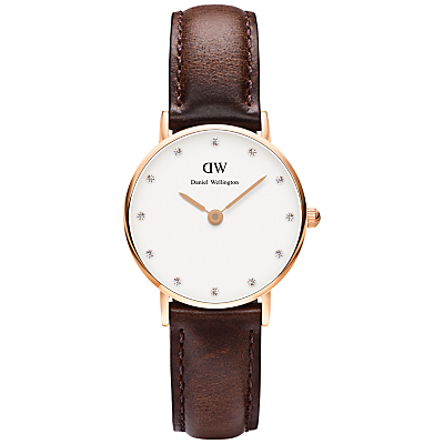Daniel Wellington 0903DW Women's Classy Bristol Leather Strap Watch, Brown/White