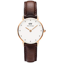 Buy Daniel Wellington 0903DW Women's Classy Bristol Leather Strap Watch, Brown/White Online at johnlewis.com