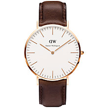 Buy Daniel Wellington 0109DW Men's Classy Rose Gold Plated Leather Strap Watch, Brown/White Online at johnlewis.com