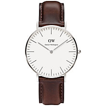 Buy Daniel Wellington 0611DW Women's Classic Bristol Leather Strap Watch, Silver / Brown Online at johnlewis.com