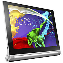 "Buy Lenovo Yoga Tablet 2 10, Intel Atom, Android, 10.1"", Wi-Fi & 4G LTE, 16GB, Silver Online at johnlewis.com"