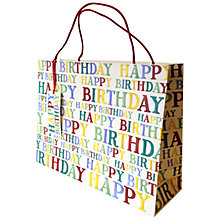 Buy Emma Bridgewater Happy Birthday Polka Text Gift Bag Online at johnlewis.com