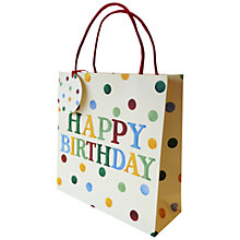 Buy Emma Bridgewater Polka Text Happy Birthday Gift Bag Online at johnlewis.com