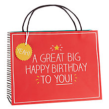 Buy Happy Jackson Great Big Birthday Shopper Gift Bag Online at johnlewis.com