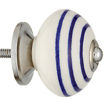 Buy John Lewis Ceramic Stripe Cupboard Knob, Navy Stripe, Dia.45mm Online at johnlewis.com