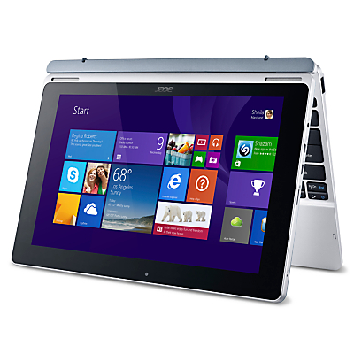 """Image of Acer Aspire Switch 10 Convertible Tablet, Intel Atom, 2GB RAM, 32GB eMMC, Windows 8.1 & Microsoft Office 365, 10.1"""" Full HD Touch Screen, Silver"""