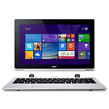 "Buy Acer Aspire Switch 11 Convertible Tablet Laptop, Intel Atom, 2GB RAM, 500GB + 32GB SSD, 11.6"" Touch Screen, Silver Online at johnlewis.com"