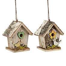 Buy John Lewis Wooden Bird House Decorations, Assorted Colours Online at johnlewis.com