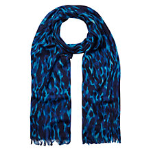 Buy Whistles Tyler Animal Print Wool Scarf, Teal Online at johnlewis.com