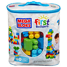 Buy Mega Bloks First Builders Big Building Bag, Blue Online at johnlewis.com