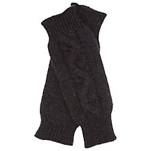 Buy John Lewis Cable Finglerless Gloves, Charcoal Online at johnlewis.com