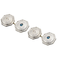 Buy Jenny Knott 14 Carat Gold Sapphire and Diamond Cufflinks, Silver Online at johnlewis.com