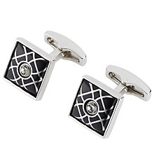 Buy Simon Carter Crystal Trellis Cufflinks, Black Online at johnlewis.com