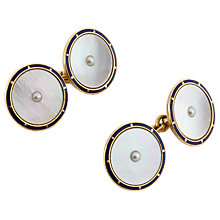 Buy Jenny Knott 18 Carat Gold, Enamel, Mother of Pearl and Seed Pearl Cufflinks, Mother of Pearl/Gold Online at johnlewis.com