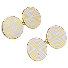 Buy Jenny Knott Enamel and 18 Carat Gold Circle Cufflinks, Gold/White Online at johnlewis.com