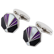 Buy Simon Carter Deco Charleston Cufflinks, Purple Online at johnlewis.com