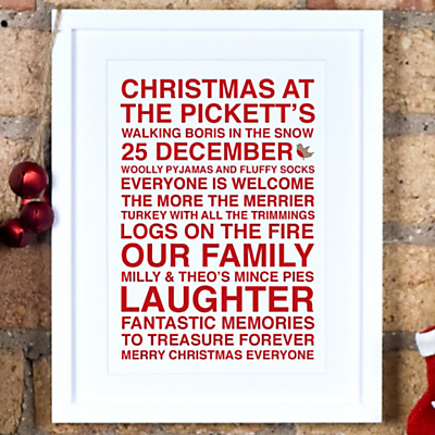 Megan Claire Personalised Christmas Framed Print, 35.5 x 27.5cm