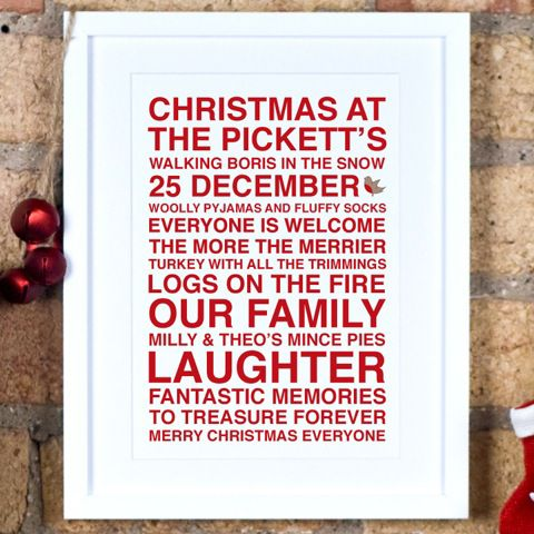 Megan Claire Megan Claire Personalised Christmas Framed Print, 35.5 x 27.5cm